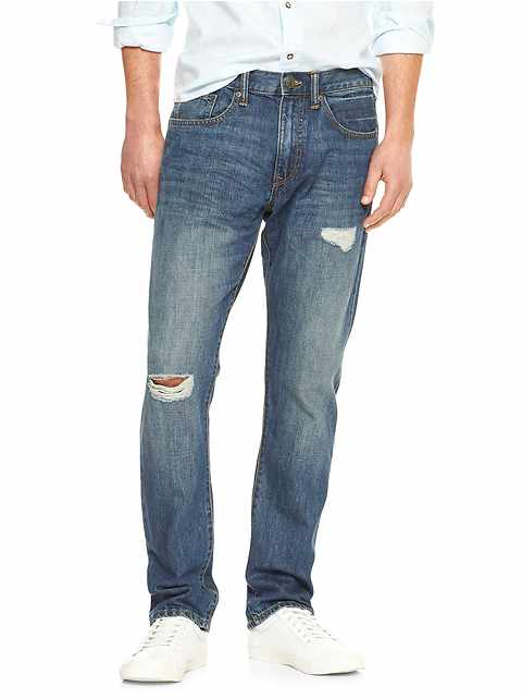 Destructed standard taper jeans