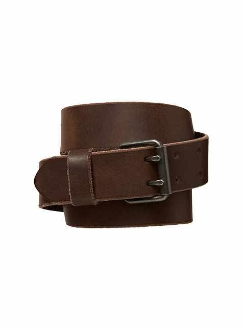 Leather double-prong belt