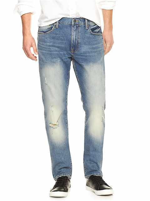 Destructed Slim Fit Jeans with GapFlex