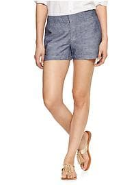 Linen-cotton city shorts