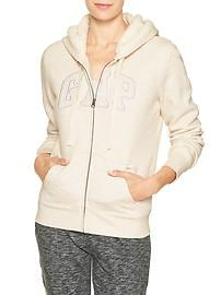 Sherpa-lined arch logo zip hoodie
