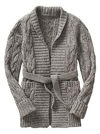 Open-Front Cable Cardigan