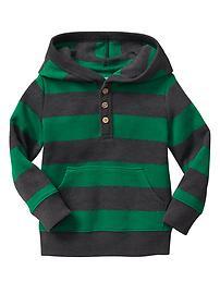 Stripe henley hoodie