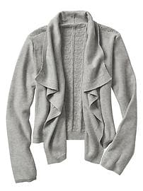 Pointelle open-front cardigan