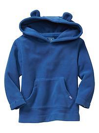Stripe fleece bear hoodie
