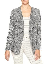 Mixed-stitch open-front cardigan