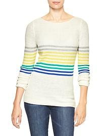 Multi-stripe boatneck sweater