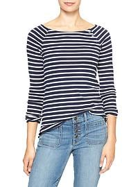 Favorite stripe button boatneck tee