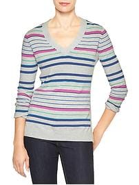 Multi-stripe V-neck sweater