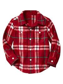 Plaid microfleece two-pocket shirt