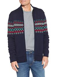 Fair isle zip cardigan