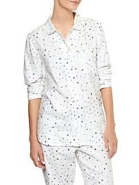 Print long-sleeve sleep shirt