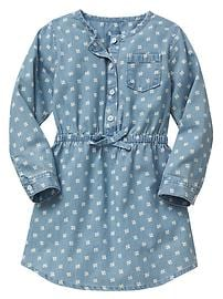 Print chambray shirt dress