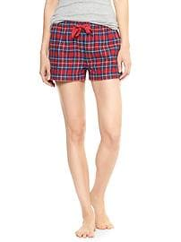 Print flannel sleep shorts
