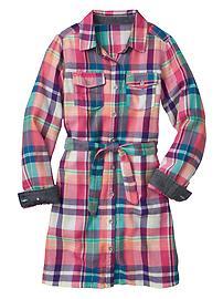 Plaid two-pocket shirtdress