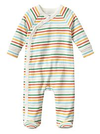 Stripe snap footed one-piece