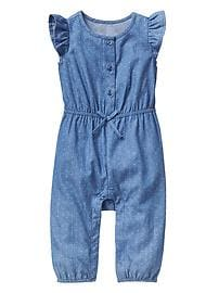 Chambray dot flutter one-piece