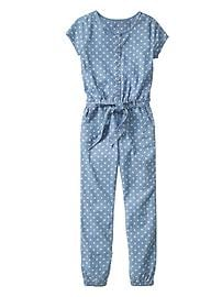 Floral chambray jumpsuit