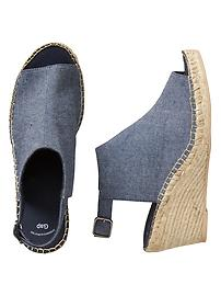 Chambray espadrllle wedges