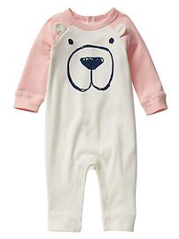 Colorblock raglan bear one-piece