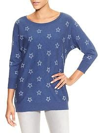 Print dolman three-quarter sleeve sweater