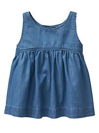 Shirred chambray tank