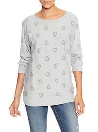 Print dolman three-quarter sleeve sweater