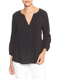 Split-neck raglan top