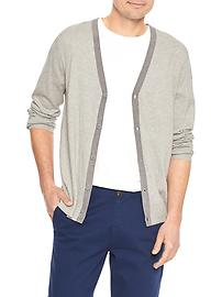 Contrast-trim V-neck cardigan