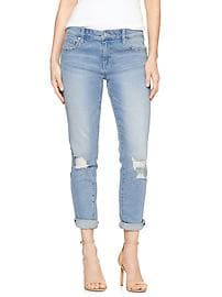 Mid Rise Destructed Cropped Girlfriend Jeans