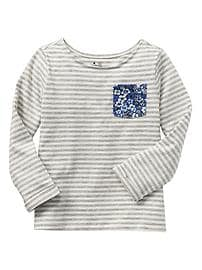 Multi-print long-sleeve pocket tee