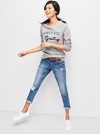 Embellished graphic raglan pullover