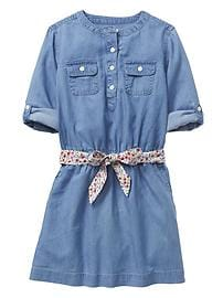 Chambray two-pocket tie-belt dress