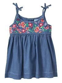 Embroidered bow tank