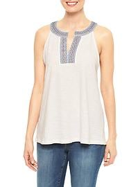 Embroidered split-neck tank