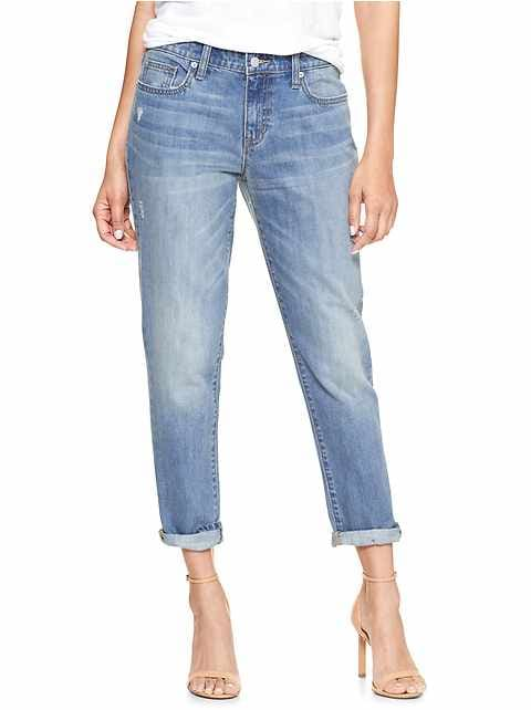 Mid Rise Destructed Sexy Boyfriend Fit Jeans