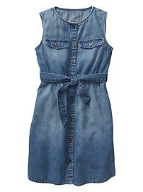 Denim tie-blt tank dress