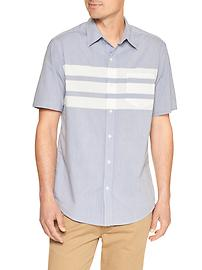 Chest-stripe short-sleeve shirt (slim fit)
