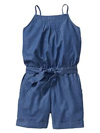 Pleated chambray romper