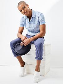 Palm print chambray shirt (slim fit)