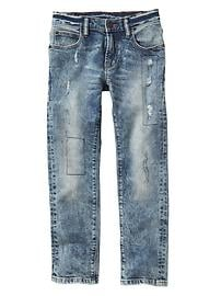 Stretch destructed slim jeans