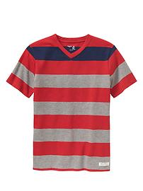 Colorblock stripe V-neck tee