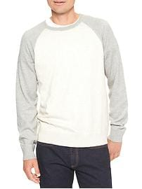 Colorblock raglan crewneck sweater