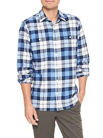 Print two-pocket flannel shirt