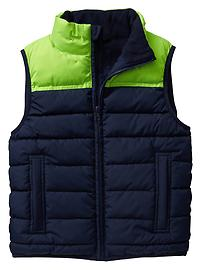 Warmest colorblock puffer vest