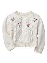 Embroidered cable knit cardigan