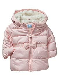Warmest hooded bow puffer jacket