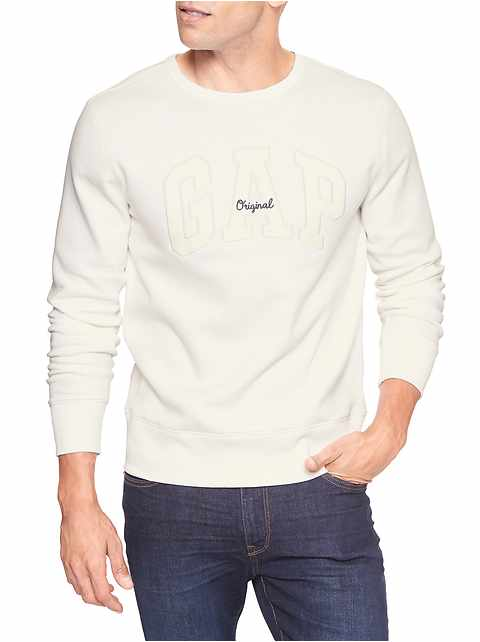 Embroidered arch logo crewneck pullover