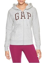 Raglan arch logo zip hoodie