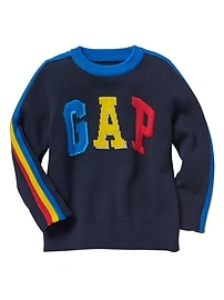 Crazy stripe arch logo intarsia sweater